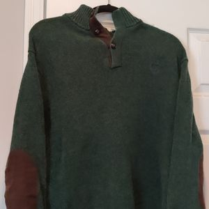 Chaps Green 1/4 Button Sweater w/ Elbowpatches